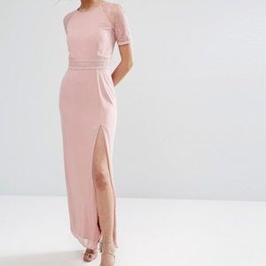 Elise Ryan Maxi Dress With Lace Sleeve And Back